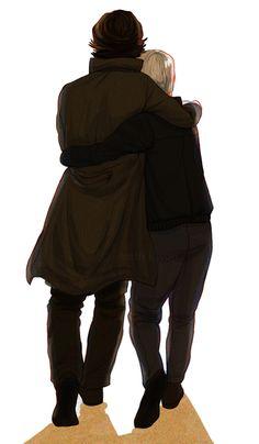 Johnlock hug fanart by kath-kwon on Tumblr #sherlock