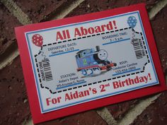 Thomas the Train Inspired Flat Invitations by ChristinaLou's Creations | Catch My Party