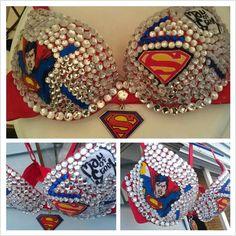 Superman Rhinestone Bra Custom made to order by Smokinghotdivas, $65.00