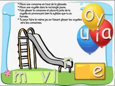 GLISSADE DES SONS: jeu interactif pour expliquer comment on passe des phonèmes aux syllabes. Idéal pour GS et CP http://brigitteprof.brigitteleonard.com/2011/09/11/la-glissade-des-sons-interactive/