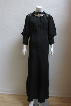 """1930's """" Montgomery Ward""""  Black Gown With Lattice Neckline With Ivory Flower Accent -  Size Medium to Large by MTvintageclothing on Etsy"""