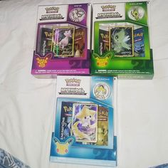Caught them all so far... #pokemon #pokemoncards #tradingcards #pins #generations #pokemon20 #pokemon20thanniversary #mew #mewtwo #pikachu #celebi #jirachi #box #mythicalpokemoncollection #trainon #boosterpack #EmeraldDawnCollector #anime #japanese #childhood #life #20years #collection #cards #colorful #shiny #art #legendary #rare by the_emeralddawn_collector