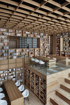 Library architecture - beijing fenghemuchen space design builds yue library as wooden forest of books in hangzhou – Library architecture Public Library Design, Modern Library, Public Libraries, Library Architecture, Interior Architecture, Interior Design, Sketch Architecture, Minimalist Architecture, Victorian Architecture