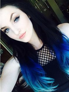 Blue ombre hair color idea for black hair girls~