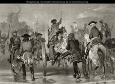 """""""Mortally wounded General Edward Braddock retreats from the Monongahela River in 1755 after an attack from French and Indian Forces, from 'Life and Times of Washington', Volume I, 1857"""" ~ Alonzo Chappel"""