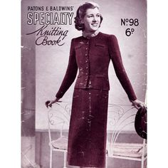 1930s Vintage Knitting Patterns Sweaters for Women Patons & Baldwins Book No. 98 Art Deco Fashion Original Book INCOMPLETE