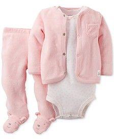Carter's Baby Girls' 3-Pc. Cardigan, Bodysuit & Footed Pants Set