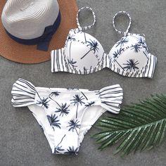 ZPDWT Sexy Bikini Push Up Bathing Suit Triangle Swimsuit Female White Bikini Set Beachwear Maillot De Bain Femme Biquini Plavky. Bikini Push Up, Sexy Bikini, Bikini Swimwear, Bikini 2018, Summer Swimwear, Bikini Beach, Thong Bikini, White Bikini Set, Striped Bikini