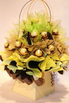 Formed in Coco Blooms creates unique and original chocolate bouquets for all gift occasions Ferrero Rocher Bouquet, Chocolate Bouquet, Candy Land, All Gifts, How To Make Chocolate, Bouquets, Projects To Try, Bloom, Table Decorations
