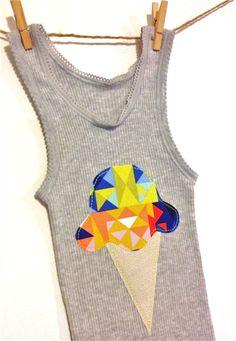 Grey baby geometric icecream singlet unisex hipster babies singlets 1 tank boy