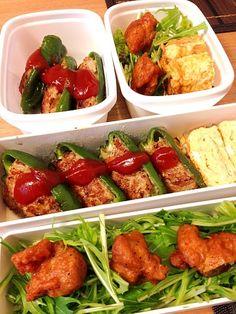 夫が今日のお弁当は豪華だと喜んでいた。豪華かな?よくわからん꒰(๑´•.̫ • `๑)꒱ - 42件のもぐもぐ - お弁当♡ピーマンの肉詰め、卵焼き、鶏から、サラダ by usaco123