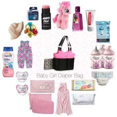 """Baby Girl Diaper Bag and Contents"" by umminess on Polyvore  I'm getting a little too excited about the little nub on the way!  But I have been really good when it comes to shopping. I've managed to restrain myself from splurging by putting it off till the last month and making sure I've narrowed it down to the basic necessities. Here's what I plan on putting in my diaper bag if I get a baby girl."