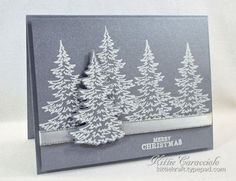 Brushed Silver Snowy Trees using Hero Arts Color Layering Snowy Trees   KittieKraft   Bloglovin'