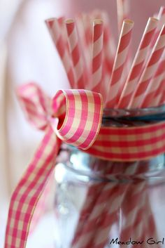 gingham with striped paper straws--IN a blue canning jar.....