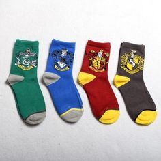 1pr Harry Potter Socks w House LOGO Gryffindor/ Slytherin /Hufflepuff/Ravenclaw