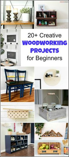 20 Creative Beginner Woodworking Projects for the Serial DIYer. DIY projects ranging from easy woodworking projects to more detailed DIY woodworking projects. Some include free woodworking project plans for you to build yourself.   woodworking projects #woodworkingideas