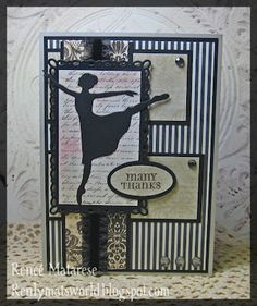 card in sophisticated black and white with silhouette of a ballet dancer...elegant!!