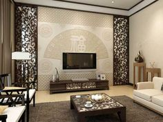 Chinese style wall murals False Ceiling Living Room, Living Room Tv, Living Room Panelling, Tv Cupboard, Tv Feature Wall, Tv Wall Design, False Ceiling Design, Mural Wall Art, Tv Cabinets
