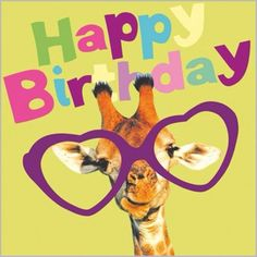 Love Giraffe & Heart Glasses Funny Birthday Card 'Have A Great Day' in Home, Furniture & DIY, Celebrations & Occasions, Cards & Stationery