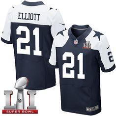 ee0770d95 Nike Dallas Cowboys Men s  21 Ezekiel Elliott Elite Navy Blue Alternate  Super Bowl LI Throwback