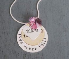 Valentines Gift for Her, Love Necklace, Anniversary Gift, Wedding Date Necklace, Love Never Fails, First Wedding Anniversary, Girlfriend
