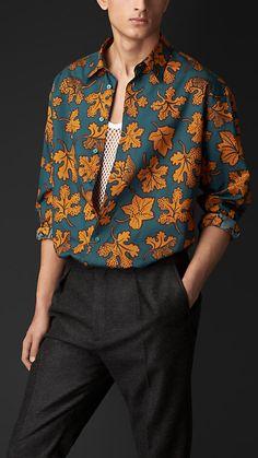 Leaf Print Cotton Silk Artist Shirt | Burberry