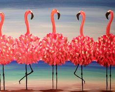Five flamingos fla-mingling. Paint Flamingo Beach over a glass of wine! Set up your next Pinot's Palette. Summer Painting, Diy Painting, Painting & Drawing, Flamingo Painting, Flamingo Art, Flamingo Beach, Pink Flamingos, Paint And Drink, Wine And Canvas