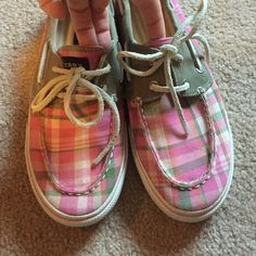 Pink Plaid Sperrys TAG SAYS GIRLS: 5.5.  L-8 - look at photo above!!Only worn a couple times- great condition! Sperry Top-Sider Shoes Flats & Loafers