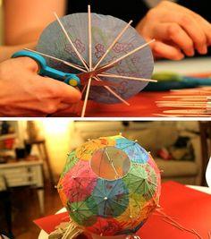 How to make a cocktail umbrella lantern by vivian