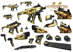 Kevin Duc - Borderlands 2 concept art - Hyperion    This gun seems alot smaller, light and compact. reminding us more of a sub-machine gun. If it wasnt for the bright yellow colour it would look very much like a conventional weapon today. (theverge, 2012)