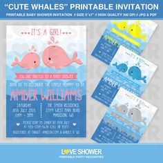 Cute whales baby shower invitation.