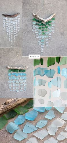 Sea glass mobiles, #DIY #Tropical #decorations for your home