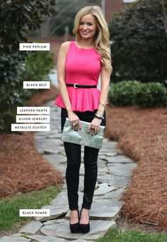 Pink peplum with skinny black pants on Emily Maynard. Love her. Love this. Loving the new blog!