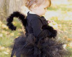 diy black cat costume, cat tail, cat clip on ears, black tutu, diy divas, do it yourself divas