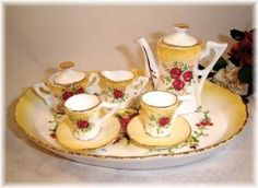 Image detail for -LIMOGES MINIATURE BUTTER YELLOW CHILD TEA SET W/ TRAY