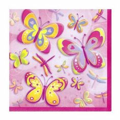Butterflies and Dragonflies Beverage Napkins 16ct by Unique. $1.79. One package of 16 Bright Butterflies Beverage Napkins. Bright Butterflies Beverage Napkins. Bright Butterflies Beverage Napkins. One package of 16 Bright Butterflies Beverage Napkins.