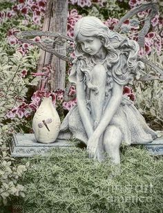 The Garden Fairy - Photography by Peggy J Hughes Available on ArtPal Fairy Statues, Fairy Figurines, Garden Statues, Garden Sculpture, Fairy Garden Houses, Garden Art, Garden Design, Raised Garden Beds, Raised Planter