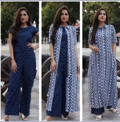 Reliable Blue Printed Rayon Women's Top Bottom Set With Jacket Size: M L XL Within business days Free and Easy return-No question asked Women's Rayon Printed Blue Color Set Price Stylish Dresses For Girls, Stylish Dress Designs, Girls Dresses, Women's Dresses, Dresses For Women, Stylish Kurtis Design, Shrug For Dresses, The Dress, Nice Dresses