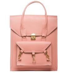 Pink Medium Pelham Bag Tomas Brilliance THE POMMIER ($473) ❤ liked on Polyvore featuring bags, handbags, handbags purses, pink purse, red handbags, man bag and structured handbags