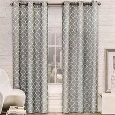 Red Barrel Studio Mortimer Geometric Blackout Grommet Curtain Panels Curtain Color: Dark Gray, Size per Panel: W x L Grommet Curtains, Blackout Curtains, Panel Curtains, Curtain Panels, Sliding Door Window Treatments, Color Meanings, Room Darkening Curtains, Colorful Curtains, New Living Room