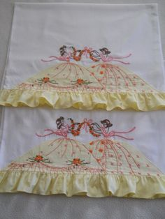 Adorable vintage hand embroidered Southern Belle Vintage Embroidery, Ribbon Embroidery, Cross Stitch Embroidery, Embroidery Patterns, Southern Belle, Embroidered Pillowcases, Embroidery Transfers, Linens And Lace, Antique Lace