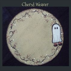 Candle Mat  Round Handpainted Canvas Ghost OFG Team. $9.00, via Etsy.
