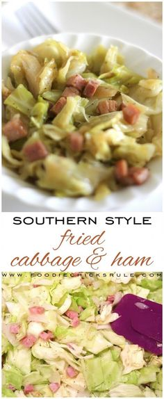 Southern Style Fried Cabbage & Ham, so good! (and easy! Ham And Cabbage Recipe, Cabbage And Potatoes, Cooked Cabbage, Fried Cabbage, Cabbage Recipes, Ham Recipes, Veggie Recipes, Whole Food Recipes, Cooking Recipes