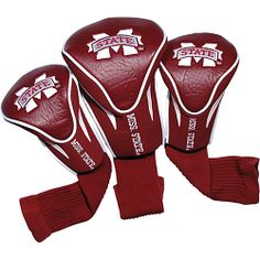 #GolfBags, #Sports, #TeamGolf - Team Golf Mississippi State University Bulldogs 3 Pack Contour Headcover Team Color - Team Golf Golf Bags