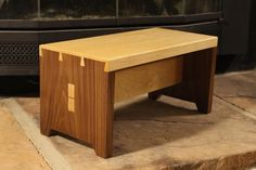 Walnut and Maple Stool with half blind dovetails and wedged through tenon stretcher