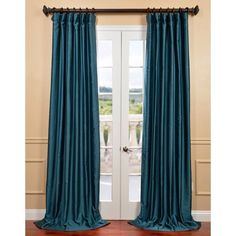 Exclusive Fabrics Fiji Yarn Dyed Faux Dupioni Silk Curtain Panel (96L), Blue, Size 50 x 96 (Cotton, Solid)