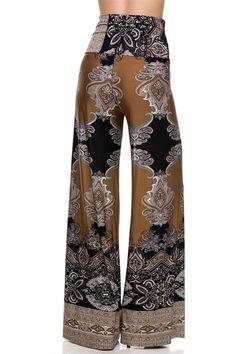 High Waist Fold Over Wide Leg Gaucho Palazzo Pants (Black Mocha) - Niobe Clothing - 6