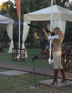 can i be her?? emily thorne.. Clay pigeon shooting so classy...those boots could be gucci.