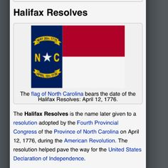 Halifax, NC Proudly represented on the North Carolina state flag!