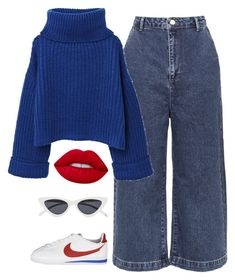 """""""crayon box"""" by chanelandcoke ❤ liked on Polyvore featuring Topshop, NIKE, MANGO, Lime Crime and Le Specs"""